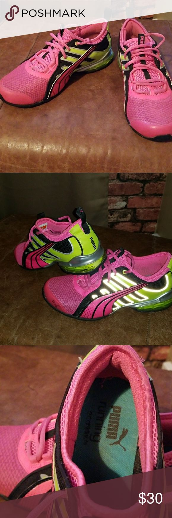Puma tennis shoe puma's,with hot pink black and tennis ball green Puma Shoes Athletic Shoes