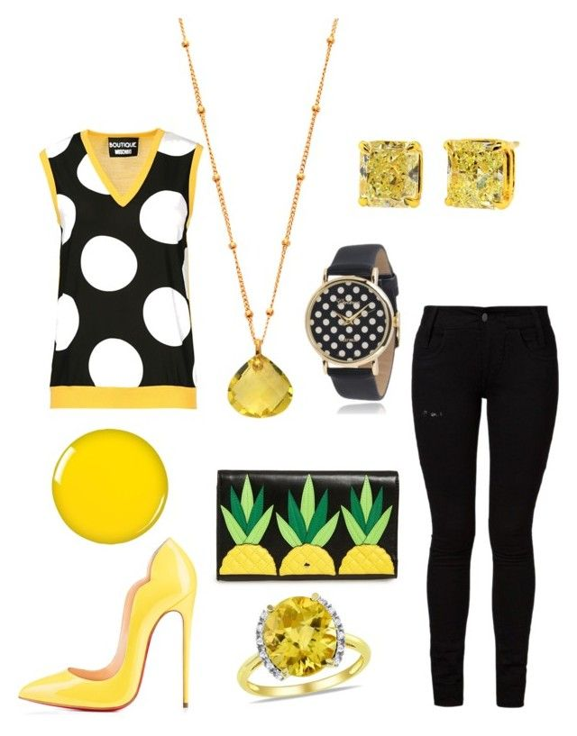 """""""Coffee Date Outfit 53 - Natalie"""" by office-girl ❤ liked on Polyvore featuring Barbara I Gongini, Boutique Moschino, Christian Louboutin, Kate Spade, Ice, Zoya and Geneva"""