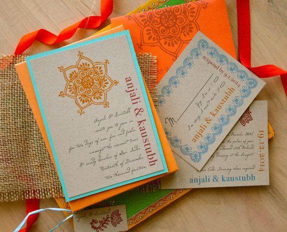 Henna Love Boho Wedding Invitations Bohemian by BeaconLane