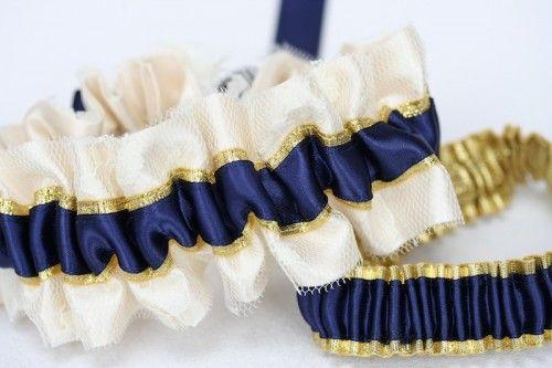 Custom Wedding Garter: Ivory, Gold and Navy