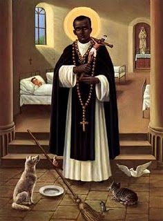 St. Martin de Porres. Born at Lima, Peru in 1579. His father was a Spanish gentleman & his mother a coloured freed-woman from Panama. At 15, he became a lay brother at the Dominican Friary at Lima & spent his whole life there-as a barber, farm laborer, among other things. St. Martin's love was all-embracing, shown equally to humans & to animals, including vermin & he maintained a cats & dogs hospital at his sister's house. Martin was a friend of both St. John de Massias & St. Rose of Lima…