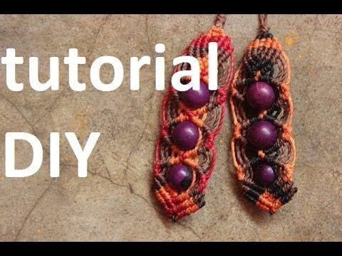 como hacer aros macrame con cuentas o semillas   earrings macrame - YouTube