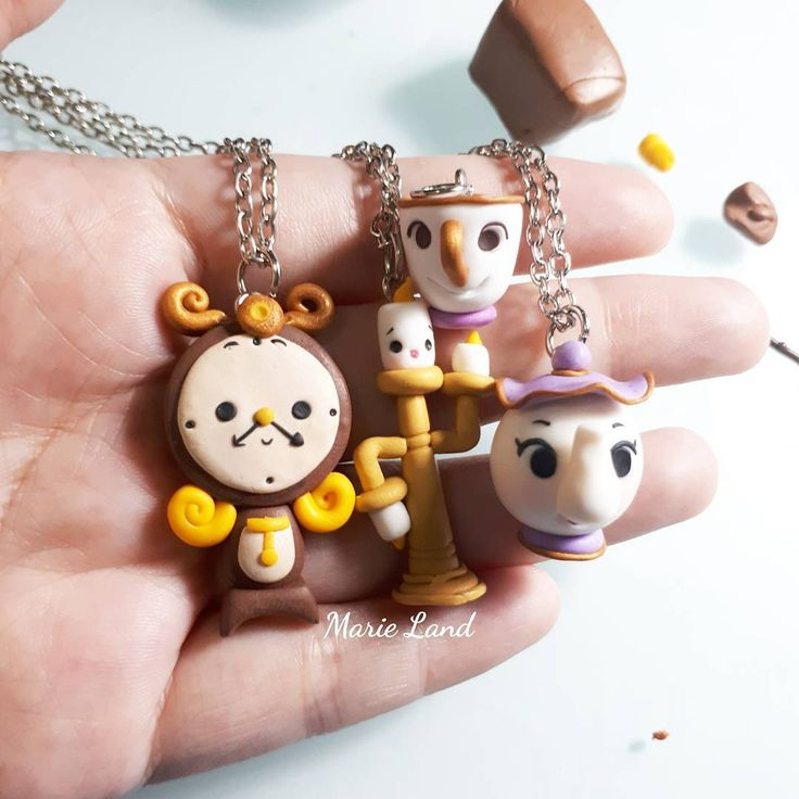 """Cogsworth, Mrs. Pott, Chip, Lumiere """"Beauty and The Beast"""" Material : Polymer Clay Size : 1,5 - 3cm"""
