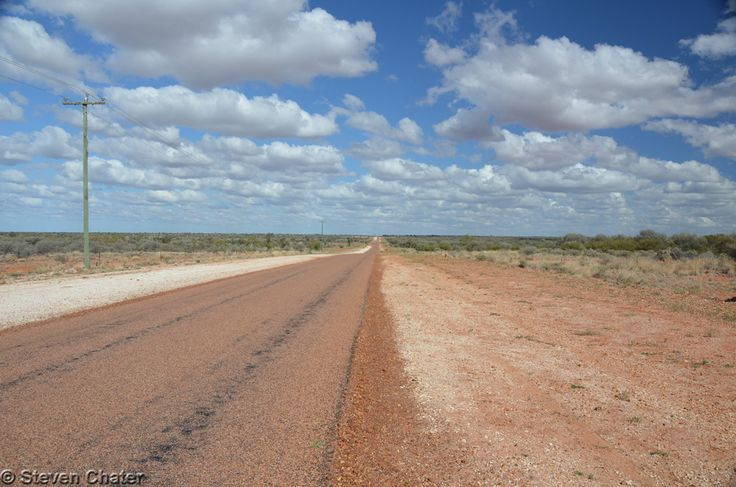 Open road in the Channel Country - heading out of Windorah towards Longreach