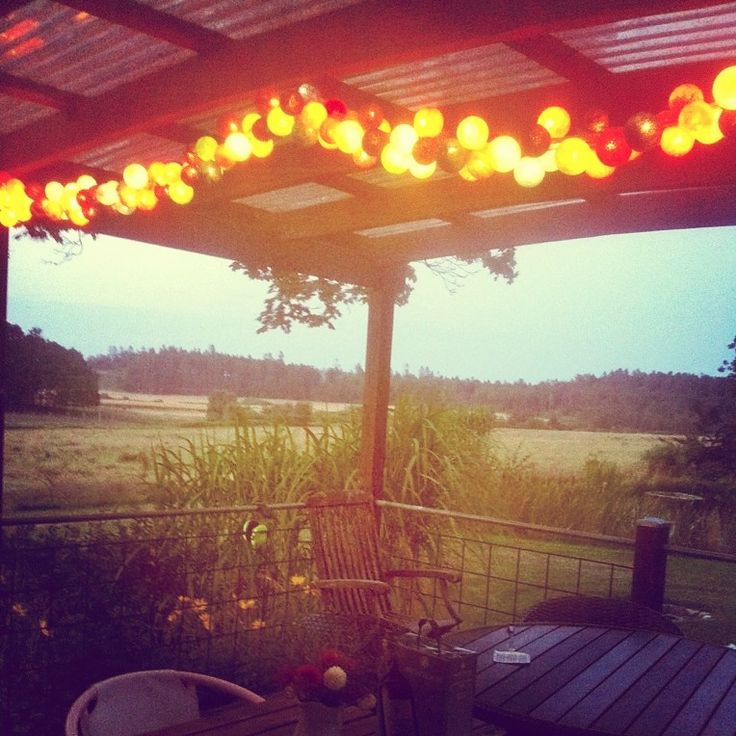 Wonderful summer evening in Denmark and lovely views at the patio! #stringlights from #vasanthidk - #design your own string light. Visit: http://www.vasanthi.dk/unique-by-you