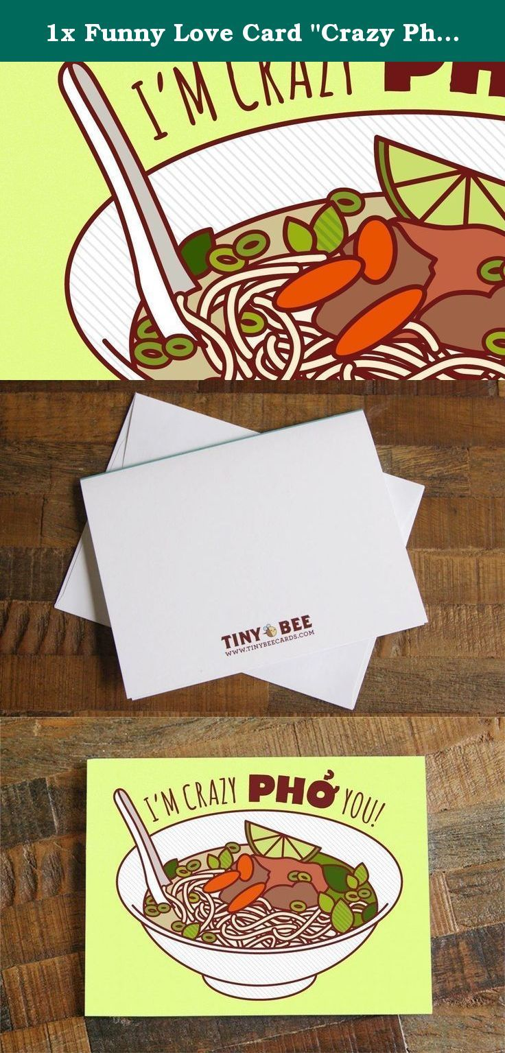 """1x Funny Love Card """"Crazy Pho You"""" - Pho Soup Pun Greeting Card, Funny Birthday Card, Anniversary or Valentine's Day, I Love You Card from TIny Bee Cards http://www.amazon.com/dp/B015X73H0E/ref=hnd_sw_r_pi_dp_coRmwb1DP84RB #handmadeatamazon. """"I'm Crazy Pho You!"""" Let your significant other know how much you like them with this yummy pho soup card. Great for all occasions -- anniversary card, valentine's day card, or just to say I love you. This is a high quality card print of my original..."""