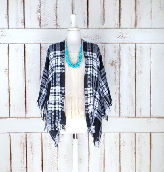 Black/white plaid woven fringe lightweight blanket kimono cover up/tartan checker cardigan wrap/gypsy/boho festival poncho top/free size(ThreeFeathersStudio)