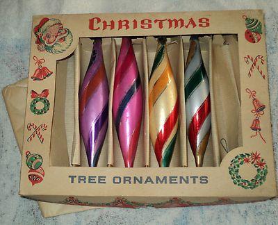 Vintage Glass Tear Drop Christmas Ornaments