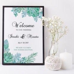 鮮やかなお花よりも植物や緑が好きな方におすすめ♡多肉植物や葉っぱ、木の枝を組み合わせて作った鮮やかなデザインです。デザインは全部で3種類。こちらは正統派な筆記体を使い、エレガントな雰囲気に仕上げました最も使いやすいデザインです♪メッセージ内容やフォント・色などを自由にカスタムすることが可能なので結婚式のウェルカムボードとしてだけではなくお部屋のインテリアやお店のサイン、プレゼントにもどうぞ。Creemaで出品さ%