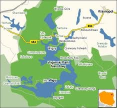 Map of Wigry National Park in Poland