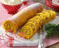 Julig rulltårta där saffran ger smak åt själva rulltårtan. Krämen är smaksatt med choklad och apelsin.