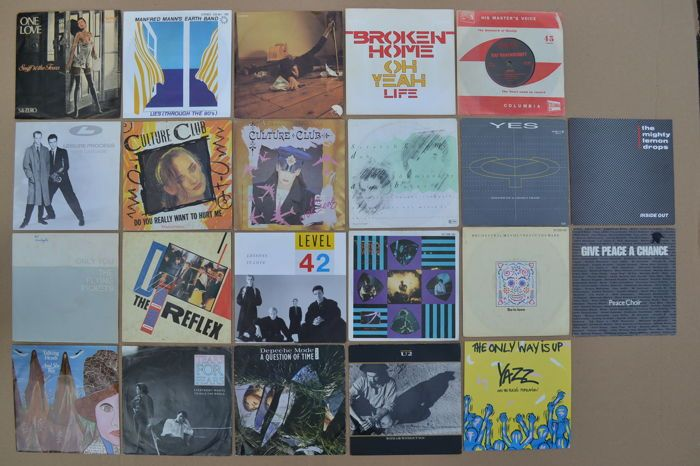 "mooi veel 22 hitsingles beroemd door ""Sky Channel & MTV"" uit de jaren 80 U.K. new wave en cult-bands/artiesten  SNIFF 'n' the TEARS - One love b/w 5 & nul - Chiswick CHIS 129 - Holland 1980.MANFRED MAN's EARTH BAND - ligt via te jaren 80 b/w je niet mijn - bronzen records 102341 - Duitsland 1980.KATE BUSH - Babooshka b/w Ran tan Wals - EMI 00607321 - Holland 1980.BROKEN HOME - Oh ja b/w leven - Mercury 6000794 - Holland 1981.RAF RAVENSCROFT - Lifeline b/w Mxine - NEMS records NES 303…"