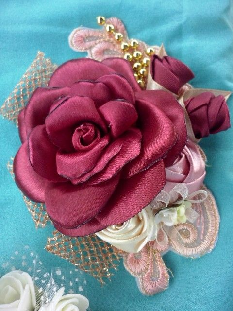 Burn rose maroon brooch, made from ribbon satin, brocade n appliques