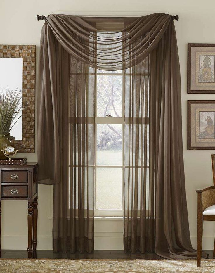 beautiful elegant solid coffee brown sheer scarf valance topper x long window treatment scarves