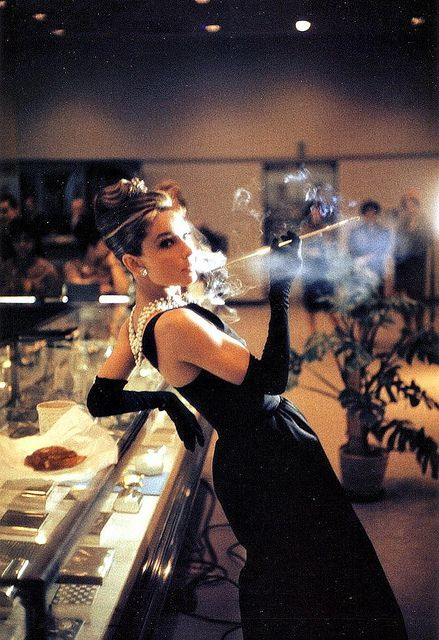 """Audrey photographed at Tiffany & Co. for publicity of """"Breakfast at Tiffany's"""", 1961"""
