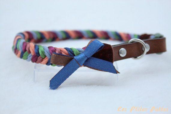 Collier pour chien tressé multicolore