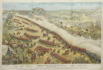 Battle of Omdurman, September 2, 1898.  The climactic battle of the Mahdist wars, a mixed force of 25,000 British, Sudanese and Egyptian troops under the command of Herbert Kitchener defeated a much larger force of Dervishes commanded by Abdullah al-Tasshi. Most of the Dervish forces were concealed at the start of the battle, and Kitchener started to move without knowing a substantial force was still on his flank.  Quick action by Hector MacDonald's Sudanese brigade saved the day.