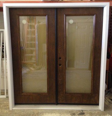 Double Entrance Doors Stained Dark Walnut