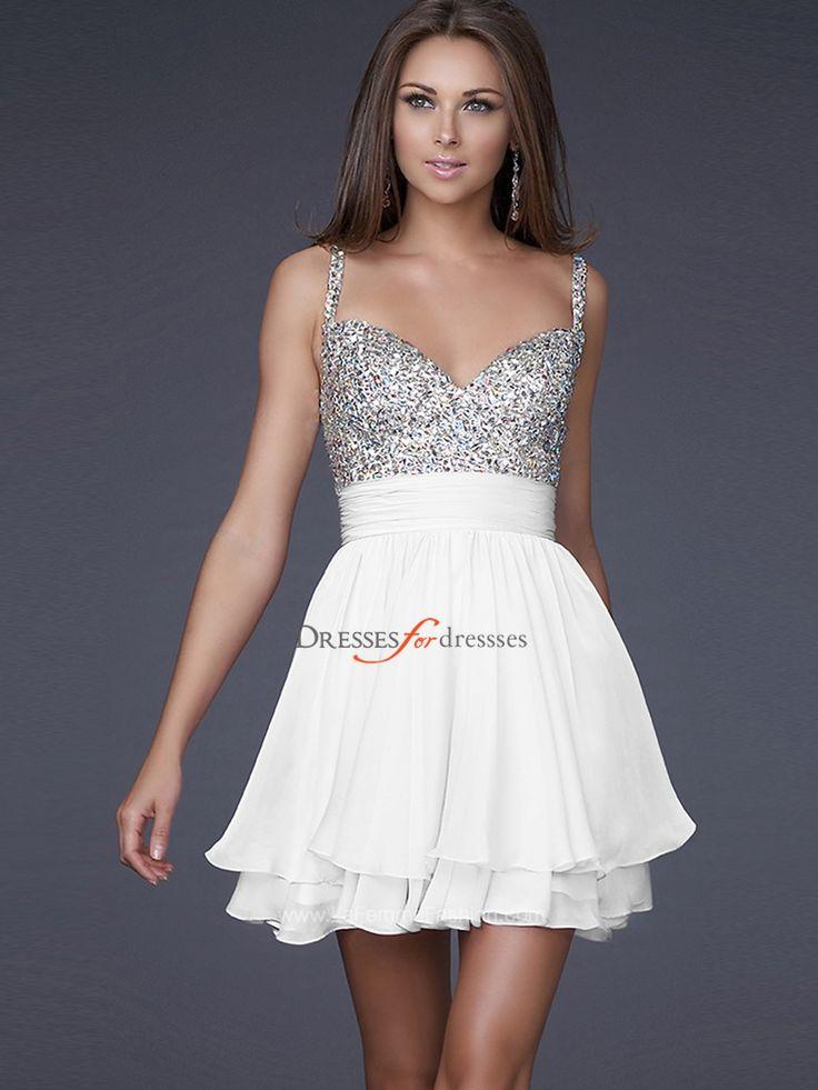 short white quinces dresses | Special Occasion Dresses > Cocktail Dresses > Breezy A-Line White ...