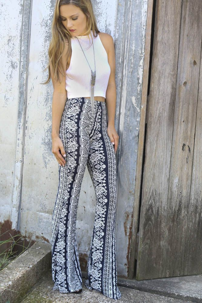 Paradise Found Navy & White Mixed Paisley Print Bell Bottoms – Amazing Lace