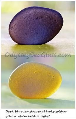 Blue to yellow color change? Compare the same piece of sea glass. ~ sea glass question submitted by Ron Evans, Staffordshire, England, UK  Sea Glass found at Marloes Sands in Pembrokeshire, Wales Hi,   Anyone know