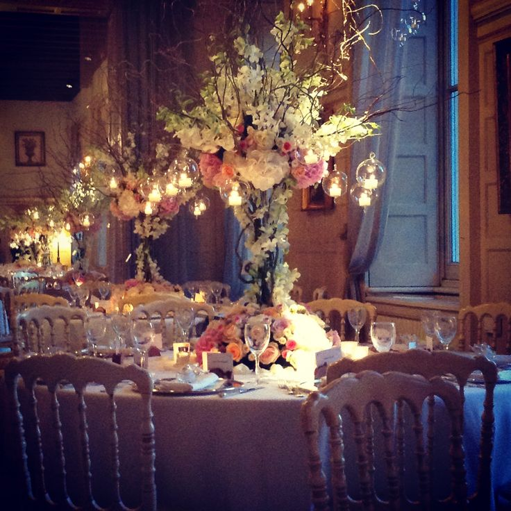 Mixed flowers centerpiece with hanging boules and