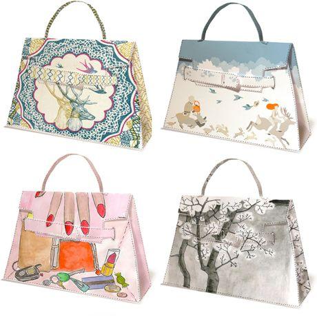 Make your own Hermes Kelly bag purse out of paper. Here's the template from Coquette. Decorate it any way you want. What a great gift wrap idea! Party favors! or fashion accesory. Fun!