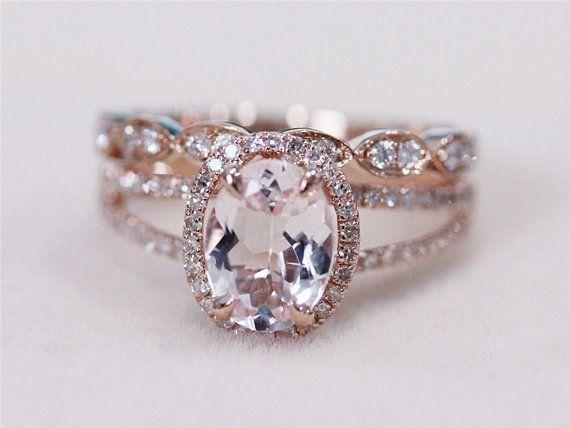 2 Rings Set - VS 6x8mm Pink Morganite Ring with Diamond Matching Band Wedding…  http://www.vintagevinylcds.com/