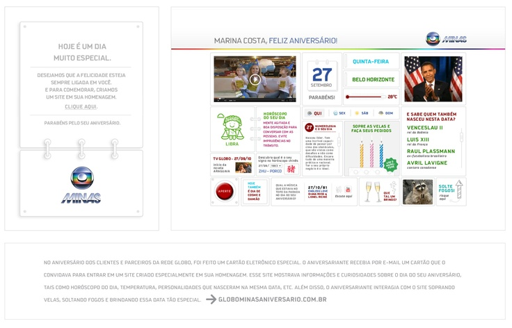 Cartão de aniversário Globo: ação de internet desenvolvida para a Rede Globo em 2012.