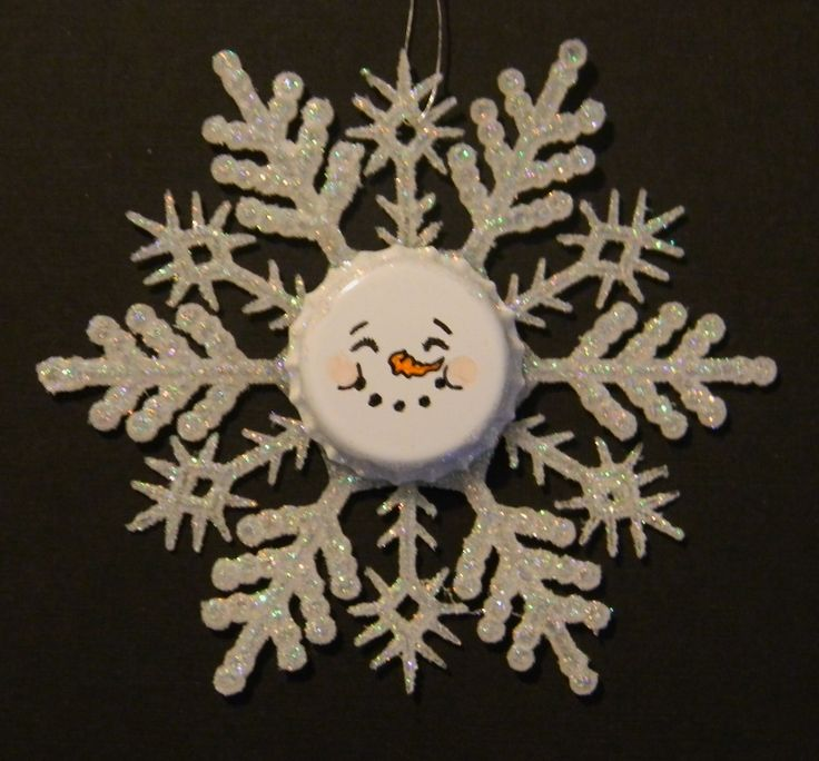 Just Me!: Snowman Face Ornaments - Bottle Caps