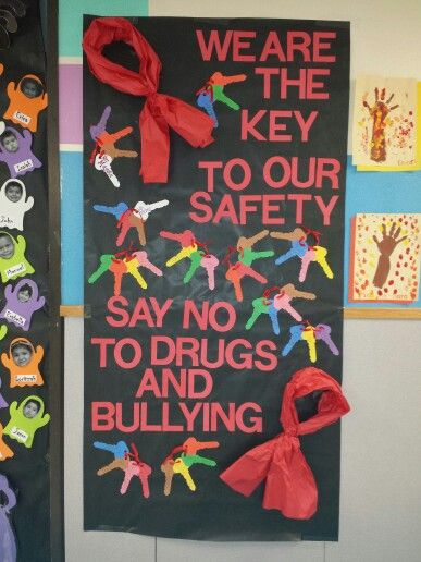 Red ribbon week. Each student signed their name on a key