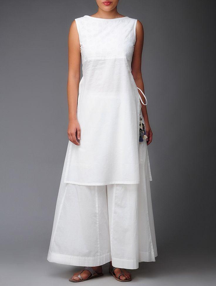 White Applique Organic-Cotton Tunic. Jaypore