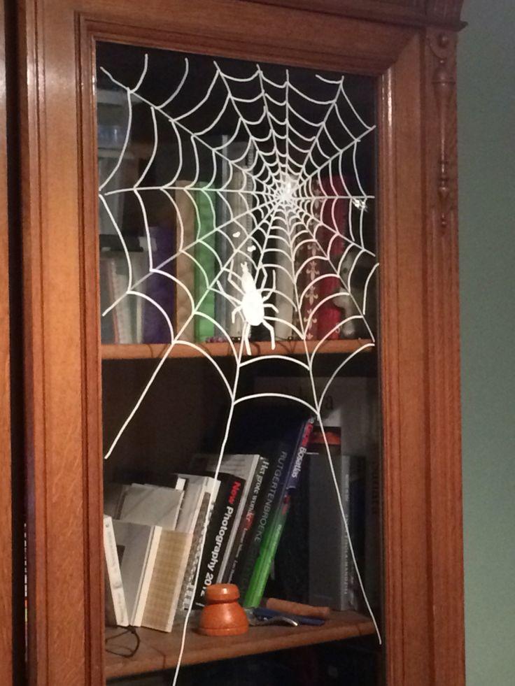 Chalk marker on window #halloween #spider #web