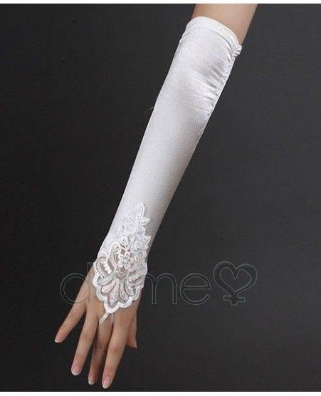 Lace Hem Elbow Länge Brauthandschuhe