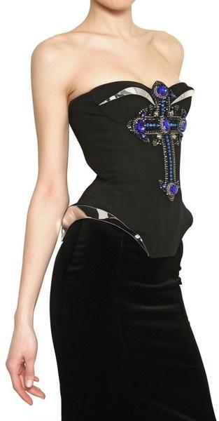 VERSACE Jewelled Cross Silk Cady Top
