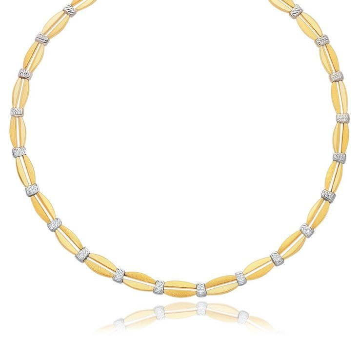 Contrasting Swish Necklace - 14k Two-Tone Gold