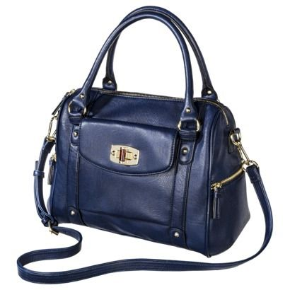 Merona® Zip Closure Satchel Handbag - Navy