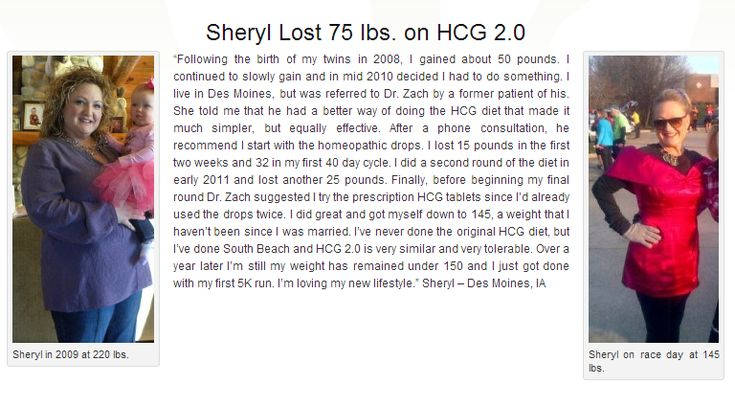 Congratulation Sheryl for losing 75 pounds on the HCG 2.0 diet. Please follow the link for more success stories. http://www.insideoutwellness.net/hcg-diet-testimonials/