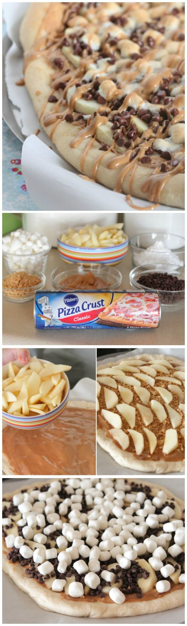 Apples + peanut butter + s'mores toppings = amazing dessert pizza!