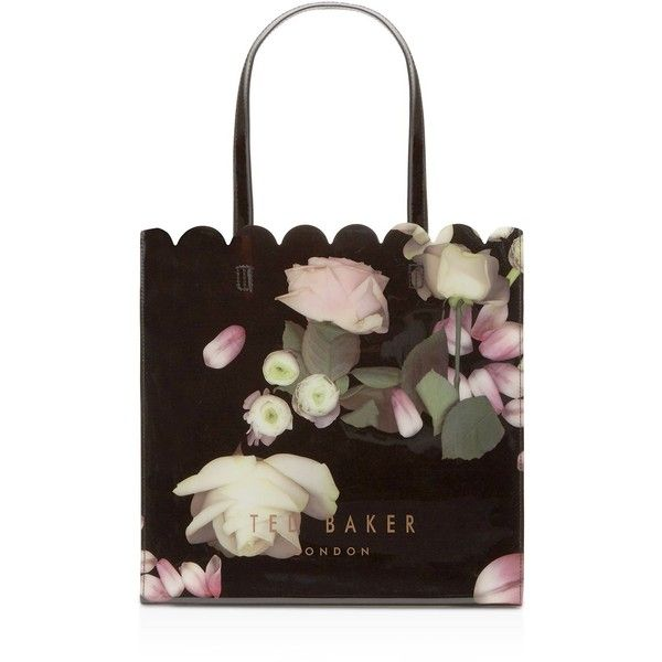 Ted Baker Kensington Floral Large Tote ($59) ❤ liked on Polyvore featuring bags, handbags, tote bags, black multi, floral handbags, man bag, ted baker tote, hand bags and ted baker tote bag