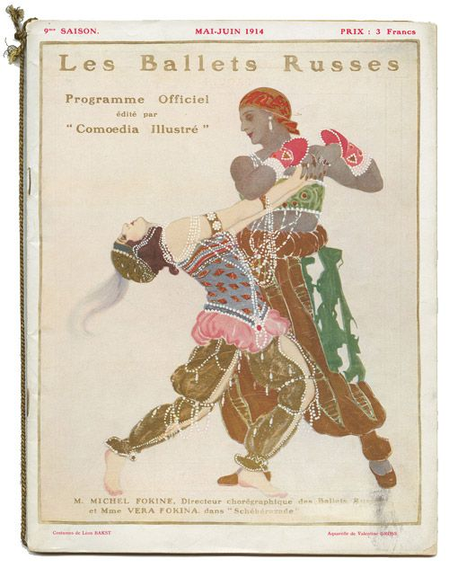 Ballet Russe program from 1914 -- recently found out Gabrielle Chanel financially supported Diaghilev for many years and this company.