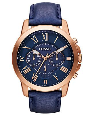 A rugged yet handsome timepiece from Fossil's Grant collection. | Navy leather strap | Round rose gold-tone stainelss steel case, 44mm | Blue multi-function dial with rose gold-tone Roman numerals, lu