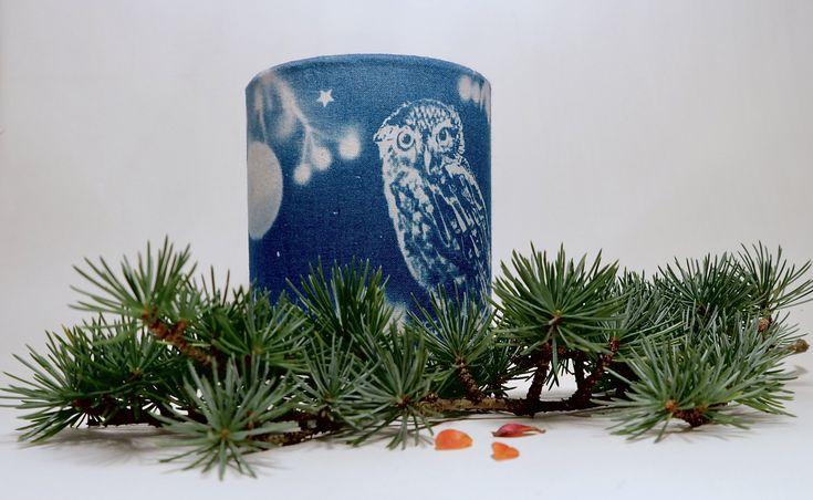 Owl lantern. Blue and white hand printed textile illumination