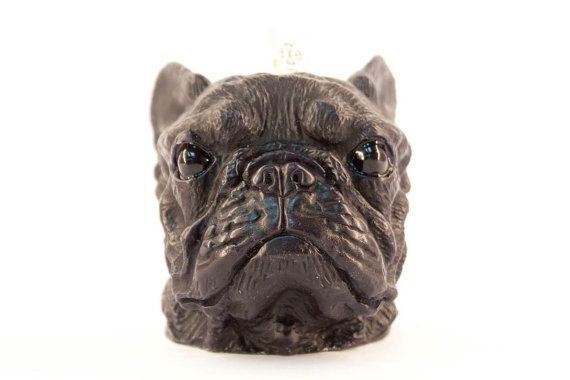 French Bulldog Scented Candle Scent Black / Vanilla + Caramel Size Candle - 13x 10x 10 cm, Weight 460g