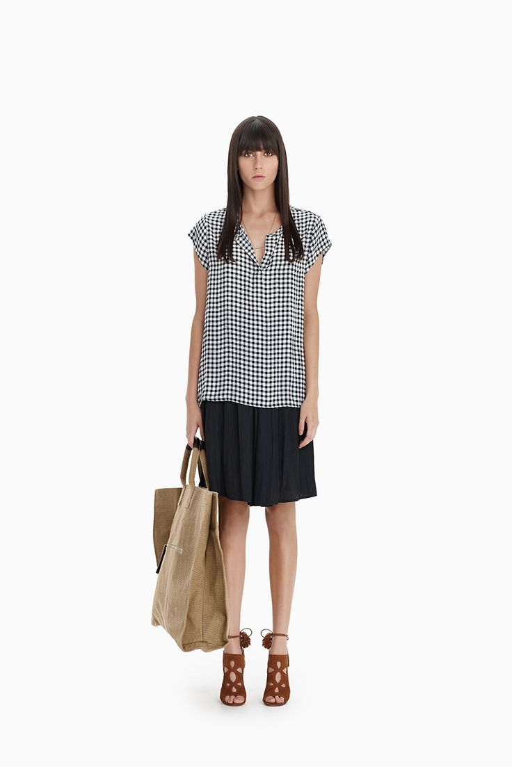 Gingham Check Pocket T + Black Flared Knee Skirt
