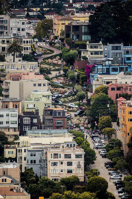 Lombard Street from Coit Tower, San Francisco, California by Naumz