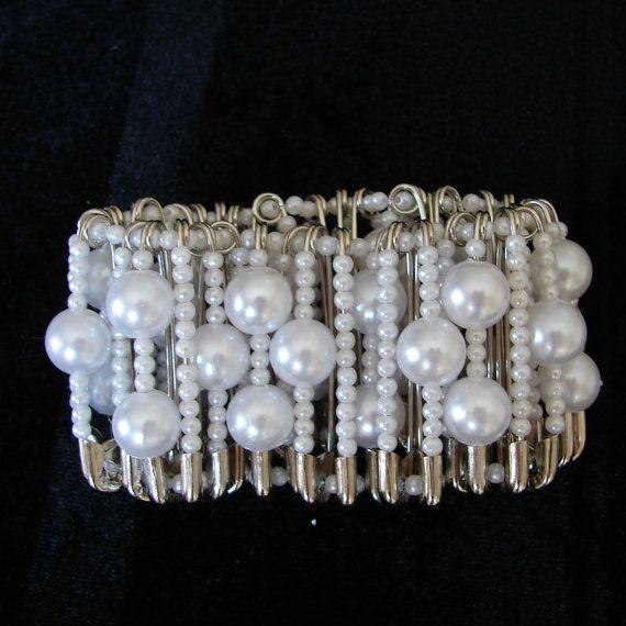 Safety pin stretch bracelet, available in my Etsy shop