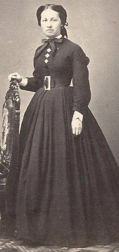 1860s Pretty Woman in Dress with Large Belt Buckle by Hale Rochester NY CDV | eBay