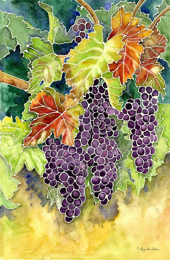 Каберне Совиньон виноград Живопись - Осенний виноградник в своей красе в стиле…