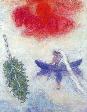 Het huwelijksbootje. Meer kaarten van Chagall bij www.postersquare.com